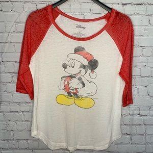 Disney Christmas Mickey Mouse 3/4 Length Sleeve